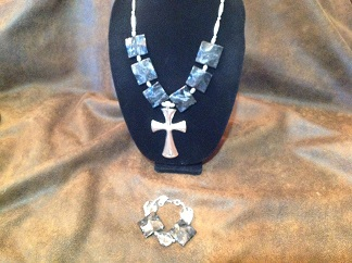 "29"" Silver Cross necklace w/ Black Turquoise"