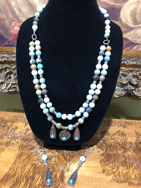 "30"" necklace and 4"" earrings Amazonite stones, silver carved round beads & turquoise"
