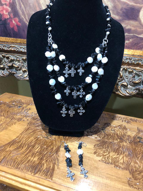 "30"" Necklace and 2 1/2"" earrings Blk obsidian  w/ fresh water shells + silver crosses"