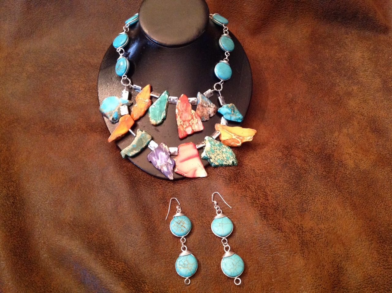 "20"" Double row Multi Color Jasper. With Turquoise"